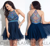 Wholesale Halter Cocktail Dress Navy Blue - Sexy Navy Blue Homecoming Dresses 2016 Hater Neck Rachel Allan Illusionm Back Major Beading on Top Knee Length Short Cocktail Gowns