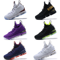 Wholesale High Top Sneakers Rhinestones - 2017 New Lebron 15 Basketball Shoes LBJ Sneakers James 15s High Top Zip Mens Soldier Casual Shoes For Men size 7-12