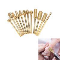 broca de tungsteno al por mayor-12 piezas de acero de tungsteno de uñas de molienda cabeza herramienta de broca de uñas chapado en oro para el arte del clavo polaco máquina