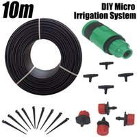 Wholesale Misting Systems - Free Shipping!10m Garden Plants Irrigation Patio Misting Cooling System 12 Micro Dripper Kit Micro Garden Water Automatic