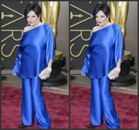 Wholesale white suit blue trouser for sale - Group buy 2019 New Liza Minelli In Oscars Trousers Suits Celebrity Gowns Long Sleeves Evening Dresses Two Pieces Taffeta Plus Size Wide legged Pants