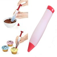 Wholesale cake painting tools online - Cake pen dessert decorating Syringe Cylinder Silicone Writing Paint Pens Pastry Icing Cream Chocolate Cookie Bakeware Cake Tools