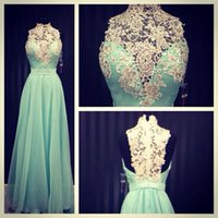 Wholesale Classic Ladies Photos - Prom Dresses High Neck 2016 Turquoise Chiffon Appliques Lace A-line Sheer Real Photos Victorian Style Ladies Special Occasion Evening Gowns