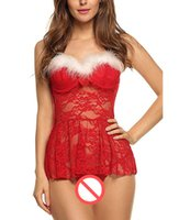 Wholesale Christmas Sex Doll - Plus Size Lingerie Sexy Hot Women's Sex Clothes Baby Doll See-through Underwear Dress Sleepwear Erotic Babydoll for Christmas