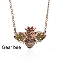 Wholesale ox brass - Bee Animal Pendants Necklace for Women Fine Jewelry brass ox flying bee pendant with gears onsteampunk fashion necklace