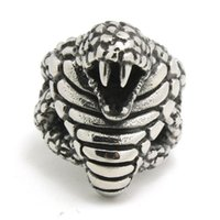 Wholesale Gothic Wedding Ring Men - 1pc Fashion Cool Design Cobra Ring 316L Stainless Steel Man Boy Band Party New Jewelry Gothic Cobra Ring