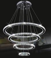 Wholesale crystal ring chandelier light - Large Modern LED Chandeliers K9 Crystal suspension Fixtures For living dinning room 4 Diamond Ring lustre Lighting Circle Lamp LLFA