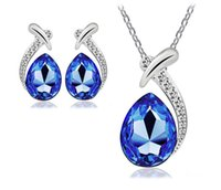 Wholesale Cheap Good Quality Earrings - Unique Design Earring Necklace Set Good Quality Crystal Pendant Necklaces and Ear Stud 5 Colors Cheap Womens Jewelry G151