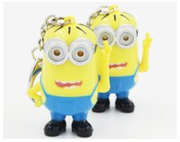 Wholesale Despicable Talking - Despicable me 3D mini LED Keychain ring talk minions press button say I love you gift for lovers christmas gift sale 2015 new