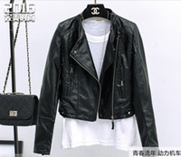 Wholesale Leather Biker Cuff - 2016 spring new Fashion Slim women's jacket PU women's motorcycle jacket Stand collar Zipper cuffs women Short coat black Biker Jacket