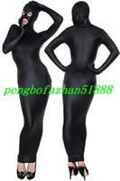 lycra fantezi elbisesi toptan satış-Yeni Siyah Likra Spandex Vücut Çanta Takım Elbise Kostümleri Açık Gözler Açık Uyku Ile Ağız Kıyafet Açık Ağız Cadılar Bayramı Fantezi Elbise Cosplay Suit P022