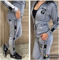Wholesale women fashion cardigan - 2017 New Women's Letter Printed Sports Set 2-Piece Brand Sweatshirts Hoodies Sportswear Sweatshirts Women's Clothing Tracksuits