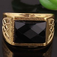 Wholesale Austrian Rectangle Crystal Ring - 2014 New Hot Selling Black Protrude Rectangle Crystal 18K Gold Filled Austrian Crystal Rings For Men Free Shipping Wholesale