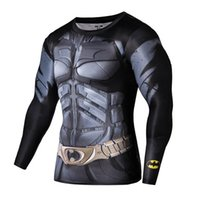 Wholesale Mens Tight T Shirts - Wholesale-Hot Men gym compression shirt marvel superhero long sleeve t shirt tights mens sport fitness basketball base layer tshirt homme
