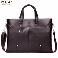 Wholesale mens laptop briefcase - VICUNA POLO Famous Brand Simple Mens Leather Briefcase Bag Solid Large Business Man Bag Laptop Handbag pasta executiva masculino
