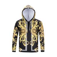Wholesale Hoodies Big Size - Nice Gloden printing royal style 2018 new arrival quality 3d printed unisex hoodies pullover designer hoodie big size womens hoodies