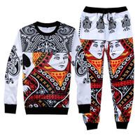 Wholesale Suited Poker - Newest funny poker face Queen jogger pants&hoody for men women running sport suits 3D sweatpants sweatshirt sets M-XXL