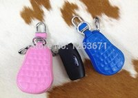 Wholesale-50Pcs / Lot 7 Color Crocodile Universel + Gourde Stylé en cuir Car Key Skin Housse Housse Protecteur 8.0 x 5.0cm Pour Voitures Mini Keys