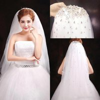 Wholesale Ivory Bridal Veils Crystals - 2017 High Quality Bridal Veils New Arrival Sequined Sparkly Crystals Tulle White Bridal Cheap Wedding Veil Wedding Accessories CPA302