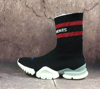 Wholesale men body fit - men Vetements Sock Boots,k Sock Runner Ultraknit,a high-top form-fitting sneakers,Training sports socks,Black Stretch-Knit Thigh-High Shoes