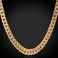 18k platin china großhandel-Fancy zweifarbig Gold Kette Halskette Platin beschichtet 18K Gold vergoldet Panzerkette für Männer Frauen