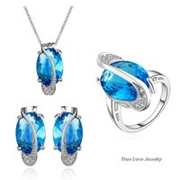Wholesale Swarovski Crystal Ring Blue - Beautiful Party Jewelry Set 18K Platinum Plated Swarovski Elements Crystal Necklace Earrings Rings Christmas gift free shipping