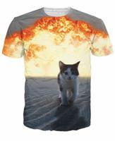 Wholesale Cutest Fashion Cat - Cat Explosion T-Shirt cutest kitten walking away from a fiery explosion casual fashion Summer t shirt women sexy tops men tee