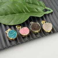 Wholesale New Gold Finds - New Arrivaling,10Pcs Mixed Color Drusy , 24k Gold Plated Druzy Quartz Stone Charms Pendant Jewelry Finding