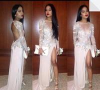 Wholesale Glitter Chiffon Prom Dress - 2016 New Crew Neck Illusion Long Sleeve Backless Chiffon Prom Dresses Formal Glitter Crystal Court Train Split Party Evening Gowns BO7453