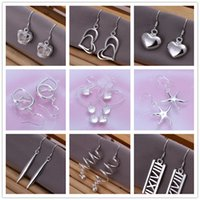 Wholesale Earing Sterling - Mix style 925 sterling silver plated dangle earing Small Solid Heart crown starfish charm Earrings for women jewelry