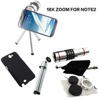 Wholesale Note2 Camera Zoom - For Samsung Galaxy Note2 18x Zoom optical Telescope Lens Camera lens+Cover Case+mini Tripod for Smartphone Creative Gifts