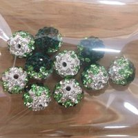 Wholesale Disco Ball Gradient - Wholesale-Freeshipping 50 PC Mix Color 10mm AB Crystal Disco Ball Interval Gradient Color Shamballa Beads 6 color pick