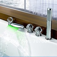Wholesale Led Waterfall Tub Faucets - Chrome Color Changing Temperature Sensor LED Waterfall Tub Faucet w  3 Crystal Ball Handles Shower