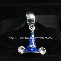 encantos del sombrero del esmalte al por mayor-Nuevo 100% S925 Sorcerer Silver Sterk Mickey Hat Dangle Charm Bead con esmalte azul se adapta a European Pandora Jewelry pulseras collares