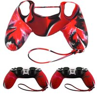 New Fashion Red Camo Custodia antiscivolo in silicone antiscivolo Maniglia + Custodia per Sony PS4 Controller di alta qualità