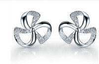 Wholesale Jewelry Young - 2015 New Style Young Girls Party fashion jewelry 925 sterling silver Lucky clover ear rings