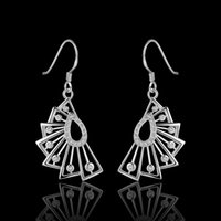 Wholesale White Silver Wedding Fan - Brand new sterling silver Insets fan earrings DFMSE483,women's 925 silver Dangle Chandelier wedding gemstone earrings factory direct