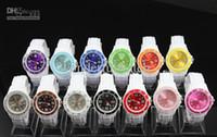 Wholesale Double Faces Watch - Hot Children 38MM White Bands Double Colors Face Jelly Watch Fashion Candy Quartz Watches 50pcs DHL free