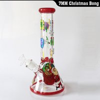Wholesale bong christmas gifts resale online - New Christmas glass bong beaker MM water pipe inchs water bong best gift by EMS