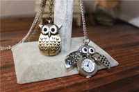 Wholesale Wholesale Pocket Watch Owl - Cute Vintage Night owl Necklace Pendant Quartz Pocket Watch Necklace Owl Watches PW005