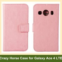 Wholesale ace flip case - Wholesale Fashion Crazy Horse Pattern PU Leather Wallet Flip Cover Case for Samsung Galaxy Ace 4 LTE SM-G357FZ with Card Slot Holder