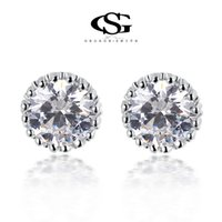 Wholesale Men S Studs - 015 G&S Free Shipping New Year Gift Austria Big Crystal Sample Stud Earrings zircon 100% Man-made Round Eearring For Women102044324