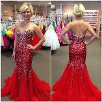 Wholesale Cheap Shiny Pageant Dresses - 2016 Shiny Mermaid Prom Dresses Sweetheart Neck Crystal Beaded Sweep Train Tulle Evening Gowns Custom Made Cheap Pageant Dresses
