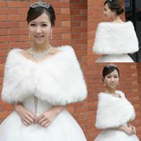 düğmeli sargı şal toptan satış-Ücretsiz Kargo Boncuk Faux Fur Şal Perakende Inciler Düğmeler Gelin Sarar Ceketler Toptan Düğün Aksesuarları