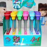 Wholesale Wholesale Bubble Pens - Stamp pen light pen   blow bubbles ballpoint pen 4 in 1