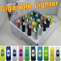 Wholesale Portable Usb Cigarette Lighter - 2015 Hot Sale! Flameless Cigarette Lighters Portable USB Electronic Rechargeable Battery Cigarettes No Gas Colorful Free Shipping