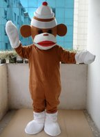 Wholesale Adult Sock Monkey Costumes - Factory Outlets Brand New custom Special Brown Sock Monkey Halloween Fancy Dress Cartoon Adult Animal Mascot Costume free shipping