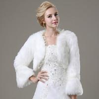 Wholesale Lace Jacket Bolero Coat - 2015 Real Picture White Winter Warm Faux Fur Shrug With Lace Edge Wedding Coats Bride Prom Party Bridal Wraps Jacket Women Bolero