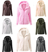 Wholesale Green Sherpa - Solid Color Sherpa Pullover Thick Hoodies Streetwear Women Casual Zipper Collar Sherpa Hoodies Sweater Sweatshirts 5pcs LJJO3746