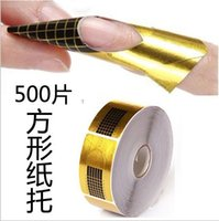 Wholesale Sticker Golden Nail - Wholesale-500 pcs Nail Art Guide Form Sticker Acrylic UV Gel Tip Extension Nail Tool Golden For Nail Beauty Nail Art Equipment